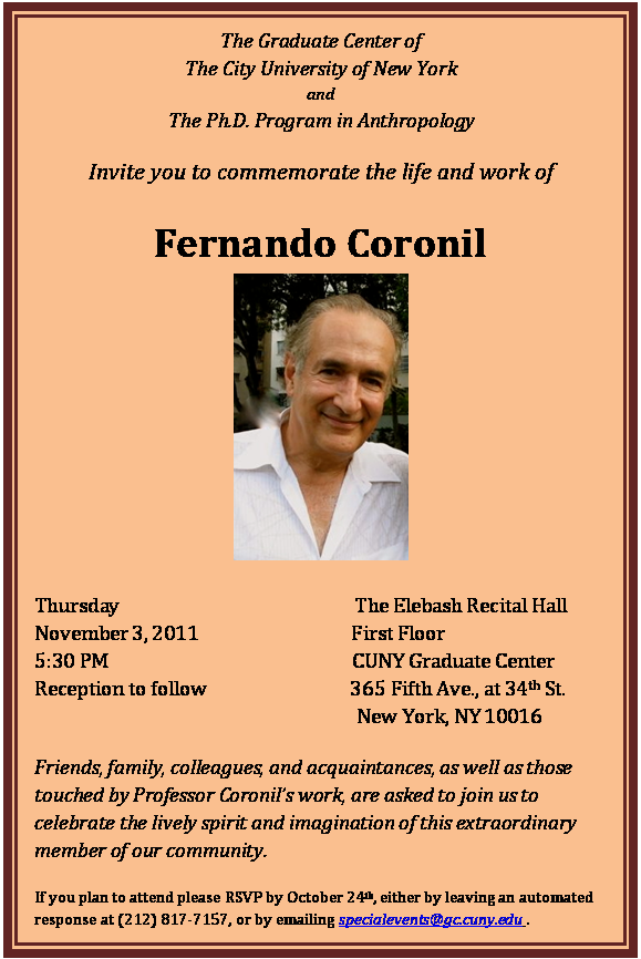 Fernando Coronil commemoration